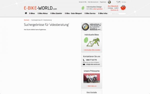 E-Bike-World Suche nach Video-Beratung Screenshot Webseite