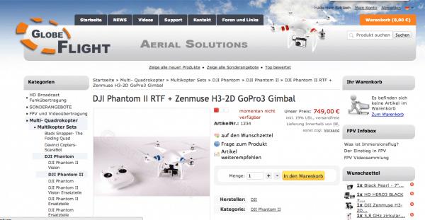 Screenshot Shop Globe-Flight.de