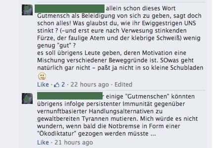 Gelöschter Kommentar mit beleidigendem Inhalt Screenshot Facebook