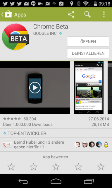 Chrome Beta im Google Play Store