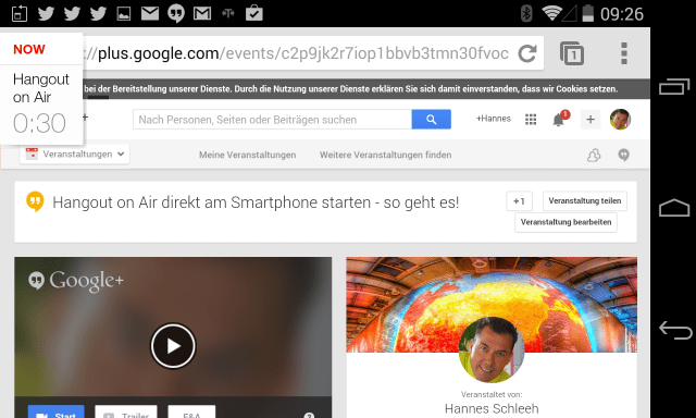 Fertige Google plus Hangout on Air Event Seite am Smartphone