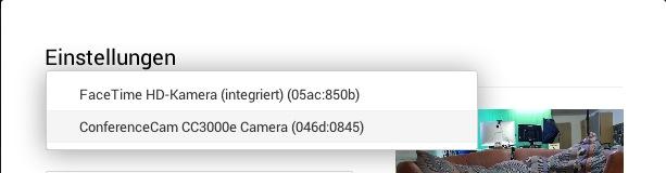 Auswahl der Logitech ConferenceCam CC 3000e im Hangout on Air Menü
