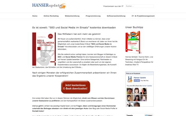 Hanser Verlag SEO und Social Media im Einsatz