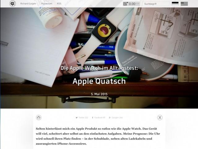 Apple Quatsch Bericht über den Nutzen der Apple Watch Screenshot