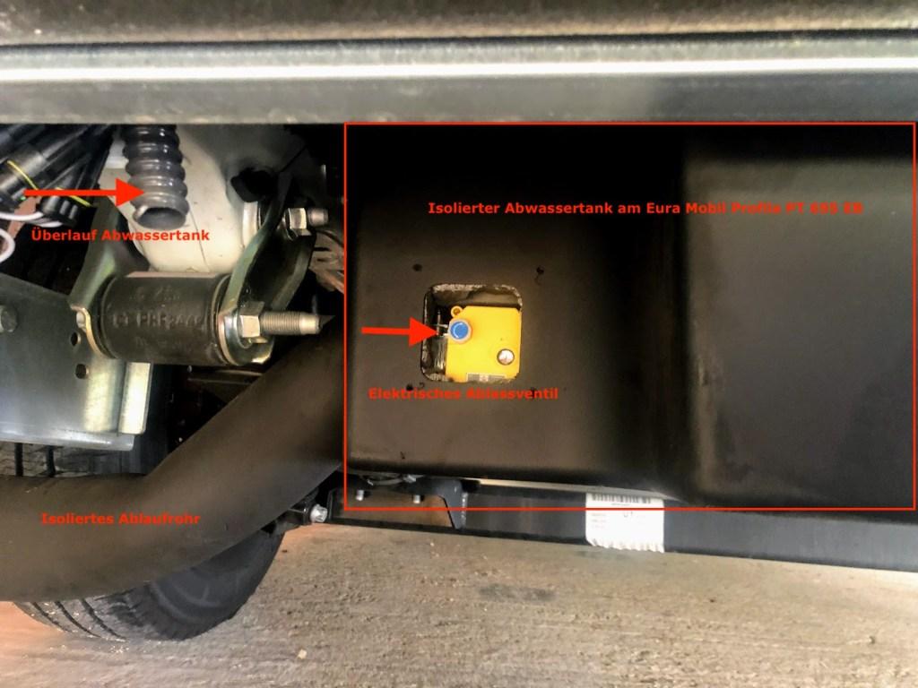 Isolierter Abwassertank Eura Mobil Profila PT695EB mit geöffnetem elektrischen Ablassventil