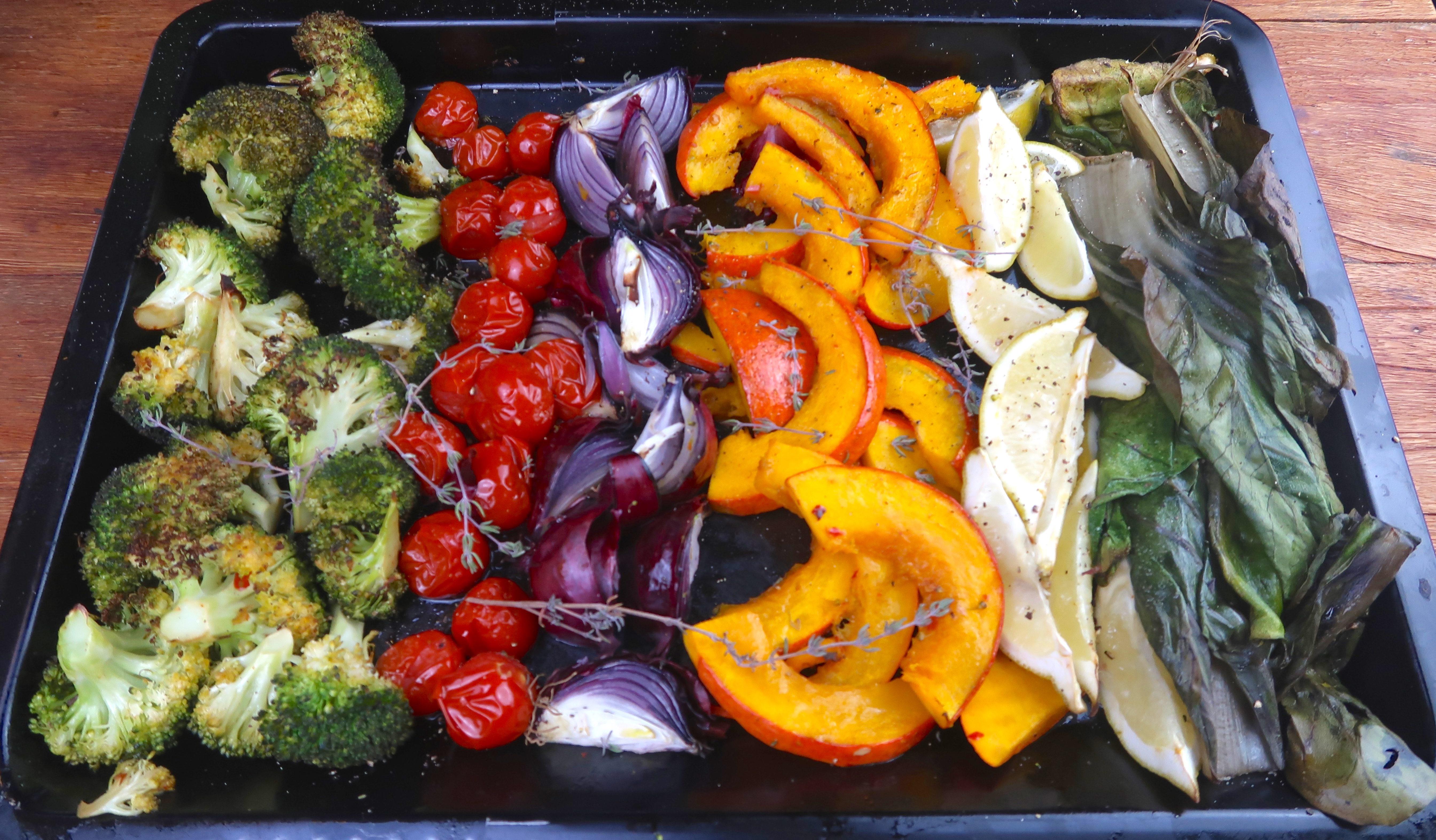Easy-Peasy: Kürbis, Zwiebel, Mangold und Tomaten aus dem Ofen