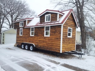 Dec 30 - Tiny house first snow:) Siding is almost the same color throughout.