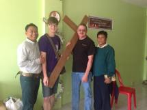 Tim, Kyle and Dean made a wooden cross for one of the small Burmese churches