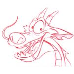 Pencil Sketch of Mushu by Steven Walker. Character copyright Disney.