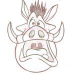Pencil Sketch of Pumbaa by Steven Walker. Character copyright Disney.