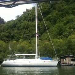 Fishing Village, Langkawi with white yacht