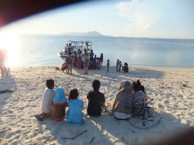 Backview of Me and the Island Kids in Maiga Island, Semporna Island Hopping
