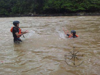 Padas Water Rafting Taking a break photo taking 4.11.2014 splashing in muddy water