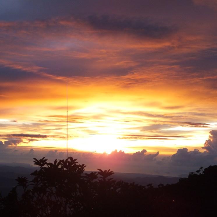 Beautiful burnt orange sunset from Mount Kinabalu Lemaing Hostel