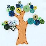 Kid's Hand Sewn Button Tree