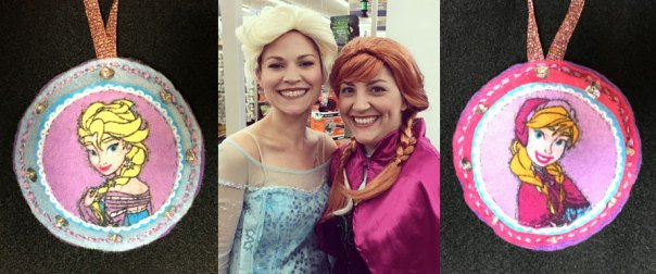 Melissa and Stephanie from Schnarr's Hardware on Halloween and the Elsa and Anna ornaments