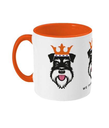 Christmas mug with Silver & Black schnauzer face kings - left