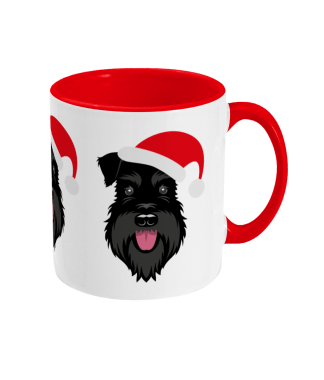 Schnauzer Christmas mug - All Black Santa Claws - right