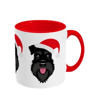 Schnauzer Christmas mug - All Black Santa Claws - right