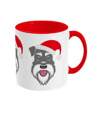 Schnauzer Christmas mug - Santa Claws with hat - right