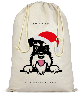 Santas sack-silver and black schnauzer