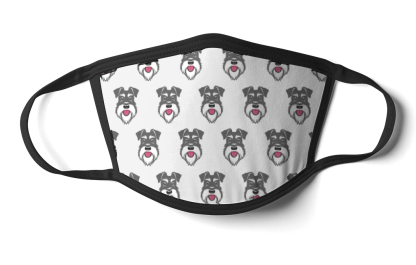 face mask salt and pepper schnauzer on white