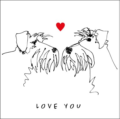 love you card sketchy schnauzer face drawings