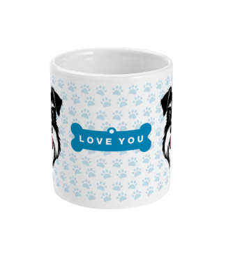 Valentine mug love you bone silver and black schnauzer centre view