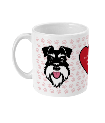 valentine mug pawfect for me silver and black left view