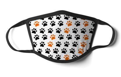 face mask orange and black pawprints