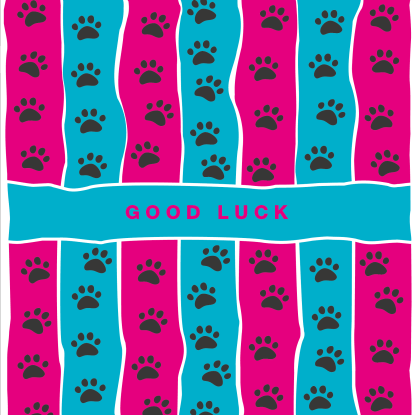 greetings card good luck pink and blue stripe
