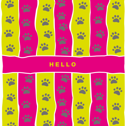 greetings card hello lime and pink stripe