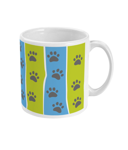 mug pawprint stripe blue and green right view