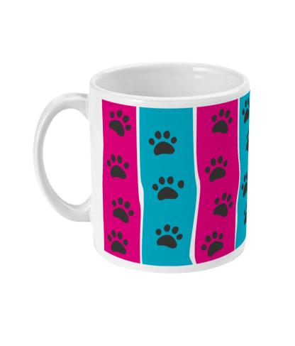 mug pawprint stripe pink and blue left view