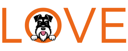 mug with silver and black schnauzer looking out of the word love in orange letters