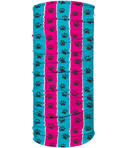 neck warmer pink and blue stripe