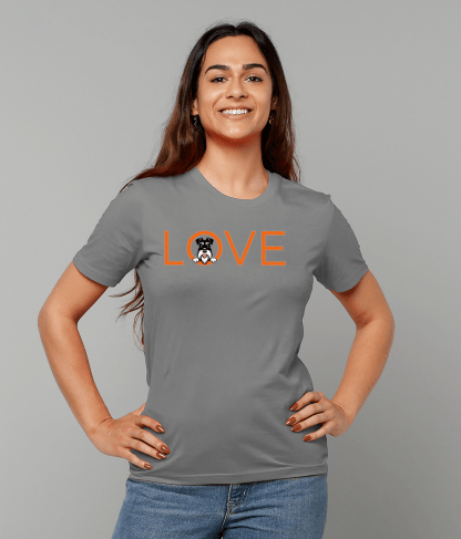 Grey T-shirt orange love silver and black female model 2