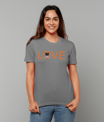 Grey T-shirt orange love silver and black female model 1