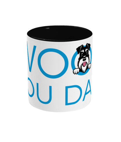 mug woof you dad blue lettering with black handle front