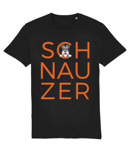 Black T-shirt orange word salt and pepper dog flat on