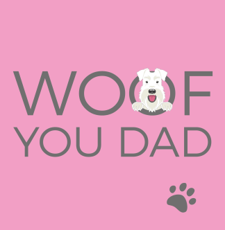 pale pink woof you dad card
