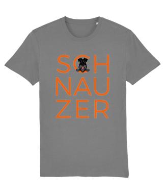 orange schnauzer lettering on a grey t-shirt all black dog