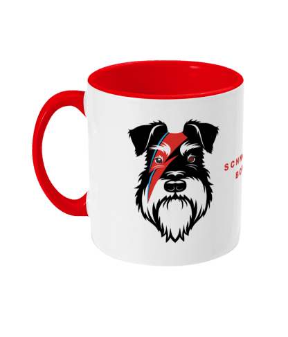 red mug bowie silver and black dog left view
