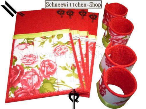 Bestecktaschen Set in rot mit Rosen