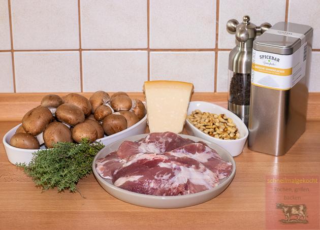 Kachelfleischröllchen mit Bruschetta