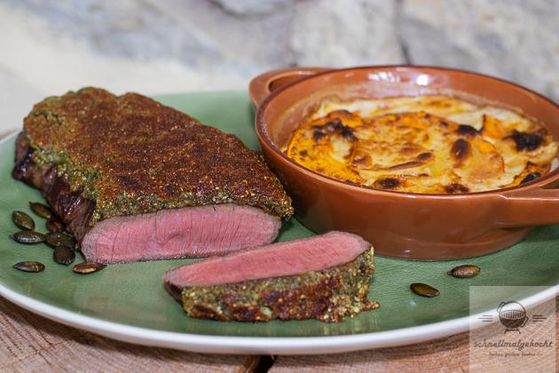 Steak mit Kürbiskernkruste