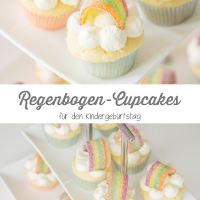 Kleine Regenbogen-Cupcakes für die Einhornparty
