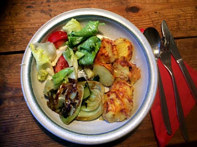 8.1.16  -  Kartoffelgratin,Pak Choi,Endiviensalat,vegetarisch (2)
