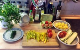 8.3.16 - Zucchini,Paprikasalat,Gurkensalat,Kartoffeln,Spiegelei (4)