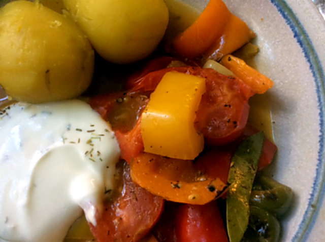 18.4.16 - Paprikapfanne,Joghurtdip,Kartoffeln,vegetarisch (2)